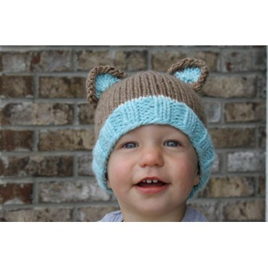 Bulky Weight Knit Bear Beanie