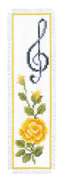 Vervaco Rose With Treble Clef Bookmark Cross Stitch Kit