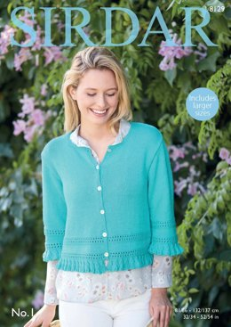 Cardigan with 3/4 Sleeves in Sirdar No.1 - 8129 - Downloadable PDF