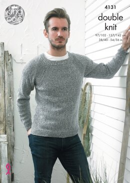Man's Sweater and V Neck Cardigan in King Cole Authentic DK - 4131 - Downloadable PDF