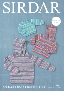 Hooded Jacket and Sweaters in Sirdar Snuggly Baby Crofter 4 Ply - 4662- Downloadable PDF