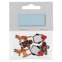Trimits  Christmas Buttons - Assorted Pack 6 Pieces