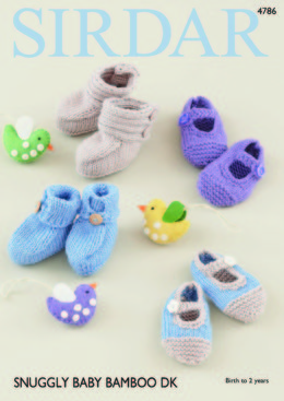 Baby Bootees and Shoes in Sirdar Snuggly Baby Bamboo DK - 4786