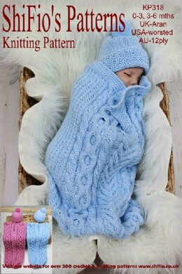 Knitting Pattern baby cable cocoon UK & USA Terms #318