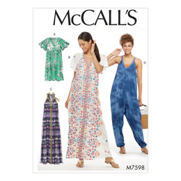 McCall's Misses' Very Loose-Fitting Dresses and Jumpsuit with Center Detail M7598 - Sewing Pattern