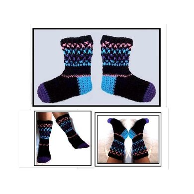 657 CROCHET SOCKS, TOE-UP, WOMEN SIZE 5 - 11
