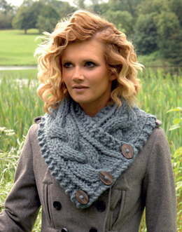 Cabled Waistcoat and Neck Warmer in Wendy Pampas - 5699