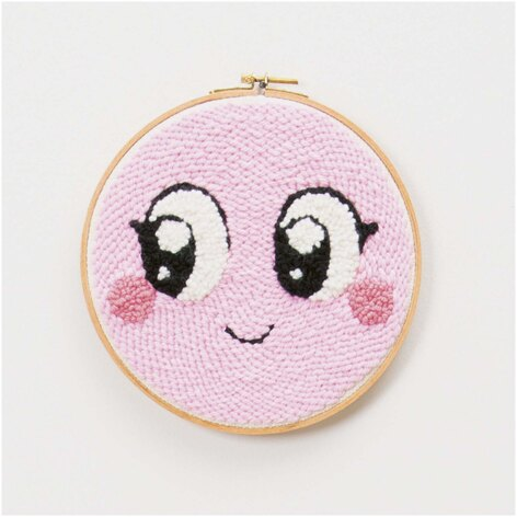 Rico Punch Needle Kit - Smiley Pink - 21.5cm