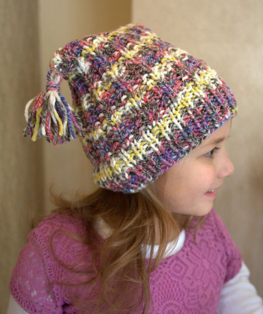 Knit Hat Patterns Not In The Round : Tassled Hat in Plymouth Yarn Woolcotte - F659 - Downloadable PDF