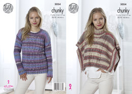 Poncho & Sweater in King Cole Drifter Chunky - 5054 - Leaflet