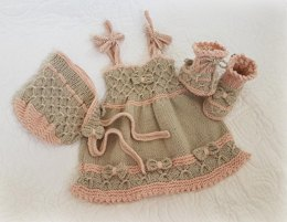 Little Bo-Peep Baby Dress, Bonnet and bootie set (0 to 24 months)
