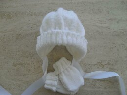 Easy Baby Bonnet And Mittens Set