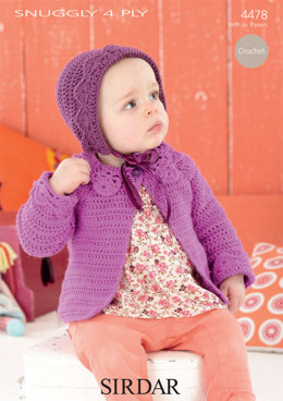 Coat and Bonnet in Sirdar Snuggly 4 Ply 50g - 4478 - Downloadable PDF