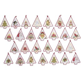 Bucilla Counted Cross Stitch Kit 4in x 3.5in - Mini Christmas Tree Ornaments (14 Count)