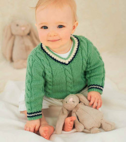 Cabled V Neck Sweater and Tank Top in Rico Baby Classic DK - 086