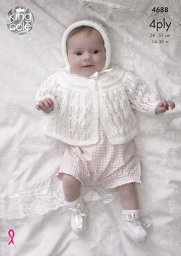 Matinee Coat, Cardigan, Bonnet & Bootees in King Cole 4Ply & DK - 4688 - Downloadable PDF