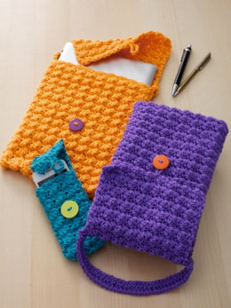 Cell Phone or Tablet Cozy in Caron Simply Soft - Downloadable PDF