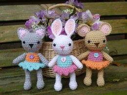 Pocket Pets Amigurumi Crochet Pattern, Baby Mouse, Rabbit and Cat.