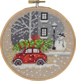 Permin Red Fiat Cross Stitch Kit (with hoop) - 13cm