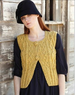 Water Mill Cabled Vest in Tahki Yarns Donegal Tweed