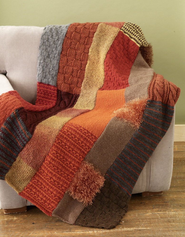 Scarf Afghan In Lion Brand Wool Ease 90021ad Knitting