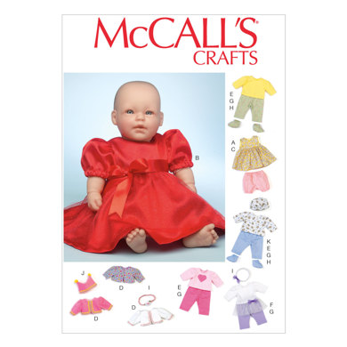 """McCall's Clothes and Accessories For 11""""-12"""" and 15""""-16"""" Baby Dolls M7066 - Paper Pattern Size One"""