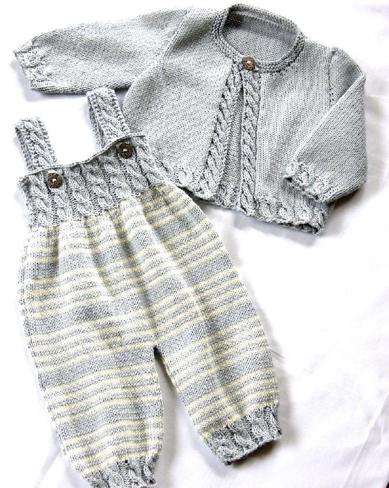 Baby Overalls with detailed cabled bodice and matching sweater Knitting patte...