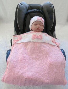 Buttons & Bows Baby Car Seat Blanket