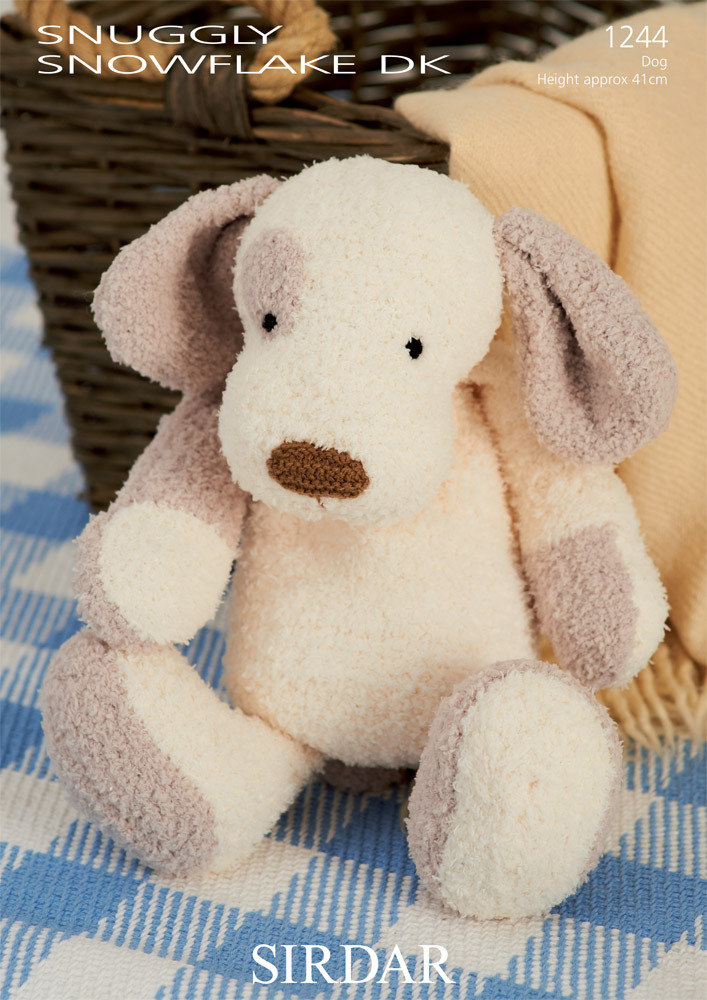 Patch The Puppy Toy In Sirdar Snuggly Snowflake Dk And