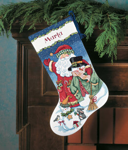 Dimensions Santa and Snowman Stocking Cross Stitch Kit - 41cm