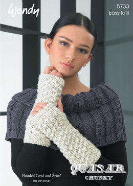 Scarf, Wrist Warmers, Neck Warmer and Hooded Cowl in Wendy Quasar Chunky - 5733