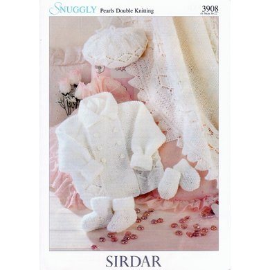 Jacket, Mittens, Beret, Booties and a Blanket in Sirdar Snuggly Pearls DK - 3908