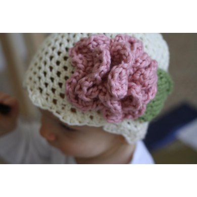 Baby Hat Cream with Pink Accent Flower