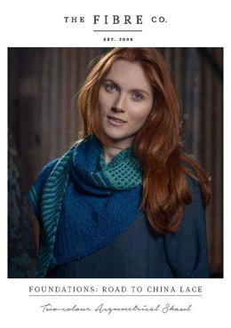 Two-Colour Asymmetrical Shawl in The Fibre Co. Road to China Lace - Downloadable PDF