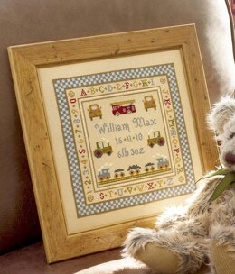 Historical Sampler Company Fire Engine Birth Sampler Cross Stitch Kit