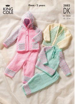 Sweater, Cardigan, Hooded Jacket & Trousers in King Cole Big Value Baby DK - 2882