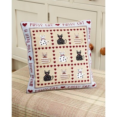 Historical Sampler Company Pussy Cat, Pussy Cat Tapestry Cushion Front Kit