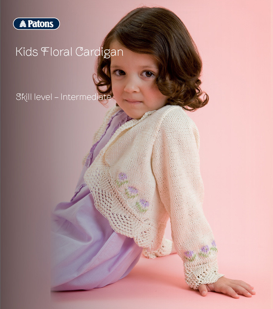 Kids Floral Cardigan in Patons 100% Cotton 4 Ply | Knitting Patterns ...