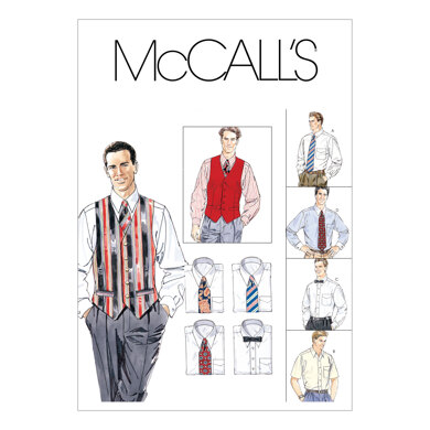 McCall's Men's Lined Vest, Shirt, Tie In Two Lengths and Bow Tie M2447 - Sewing Pattern