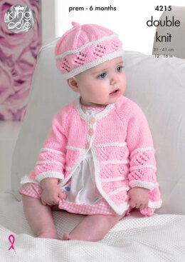 Matinee Coats, Cardigan, Beret and Hat in King Cole DK - 4215 - Downloadable PDF
