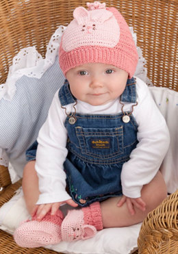 Bunny Hat & Booties in Aunt Lydia's Bamboo Crochet Thread Size 10 - LC2432 - Downloadable PDF