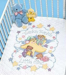 Dimensions Twinkle Twinkle Quilt Stamped Cross Stitch Kit - 86cm x 109cm