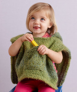 Hooded Baby Poncho in Lion Brand Homespun - 70358B