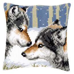 Vervaco Two Wolves Cushion Front Chunky Cross Stitch Kit - 40cm x 40cm