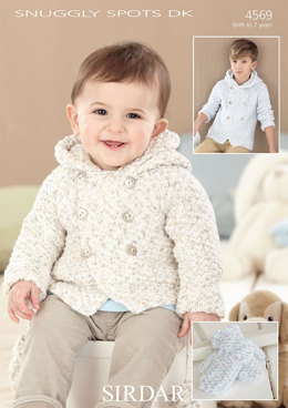 Hooded Coat and Mittens in Sirdar Snuggly Spots DK - 4569 - Downloadable PDF