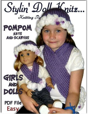 Matching Pompom Hat And Scarf For Girls And 18 Inch Dolls American
