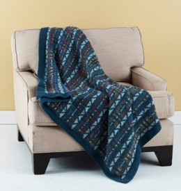 Colorful Fair Isle Throw in Lion Brand Wool-Ease and Amazing - L20285