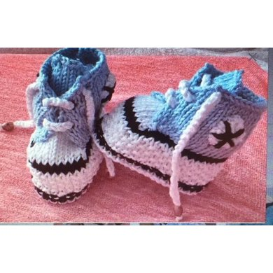 Converse Style Boots And Hat Newborn To 6mths Knitting Pattern By