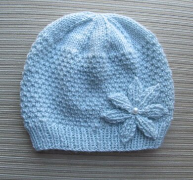 Blue Hat in Beads Stitch with a Knitted Flower in Size Adult