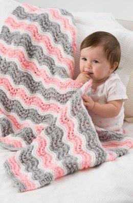 Baby Girl Chevron Blanket in Red Heart Soft Baby Steps Solids - LW4075